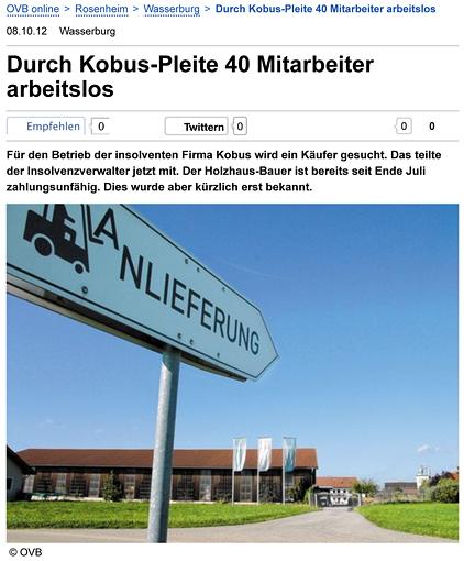 Bericht des OVB vom 08.10.2012 zur Kobus-Pleite