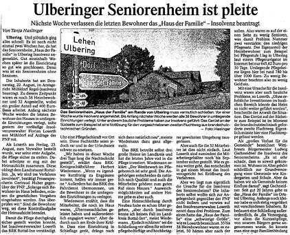 Bericht des PNP zu Ulberinger Seniorenheim ist pleite